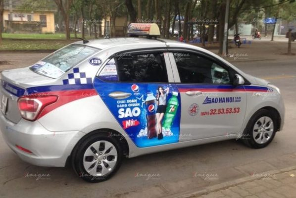 quảng cáo trên taxi sao hà nội